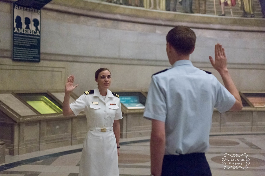 National Archives Photographer, Navy Promotion Photographer, Tamieka Smith Photography, Northern Virginia Military Photographer, Virginia Military Photographer, NOVA Military Photographer, Oath of Office, Dual Military Couple