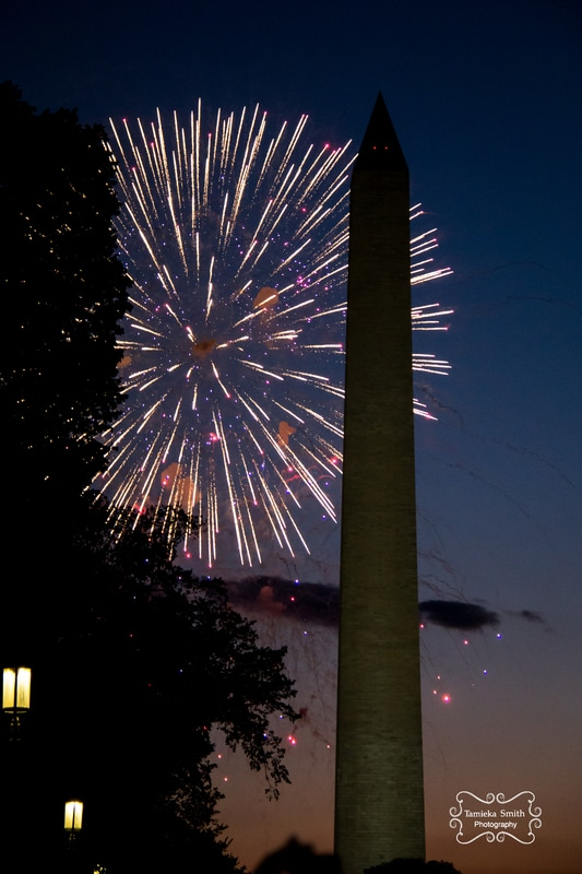 Fireworks on 4th of July in Washington DC