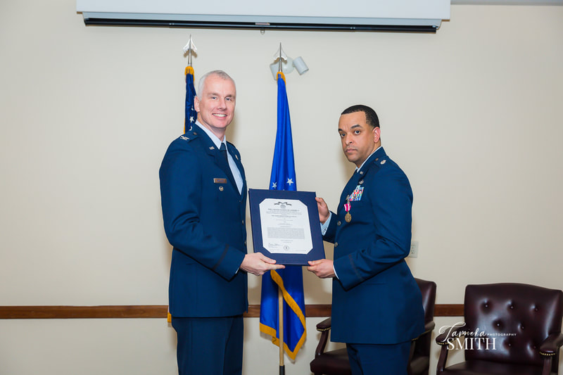 Receiving Retirement Certificate at  Andrews AFB Maryland