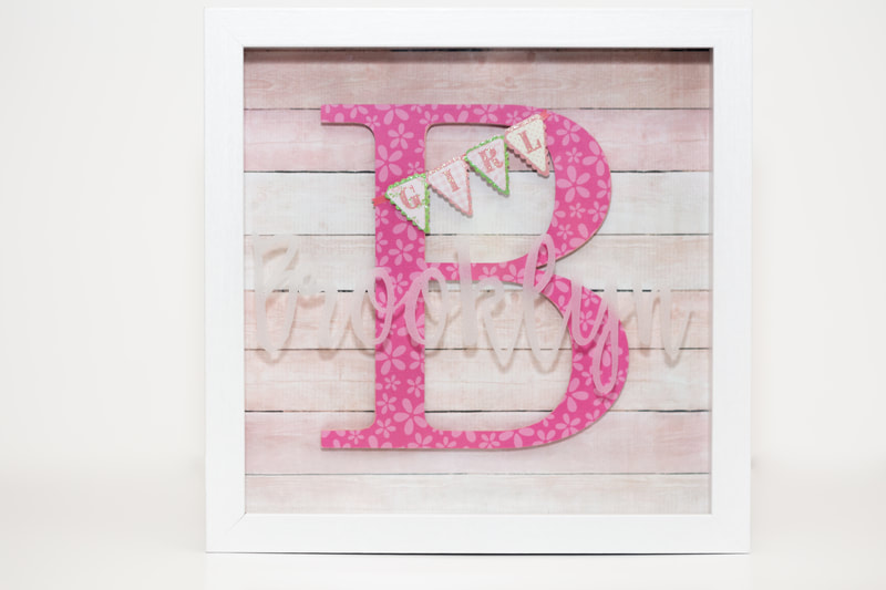 Newborn Girl ShadowBox - Front