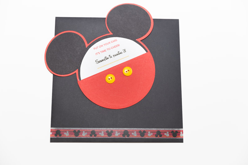 Custom Designed Mickey Mouse Birthday Card with Matching Card