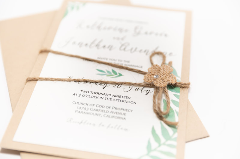 Closeup of Custom Designed Wedding Card by Northern Virginia Designer