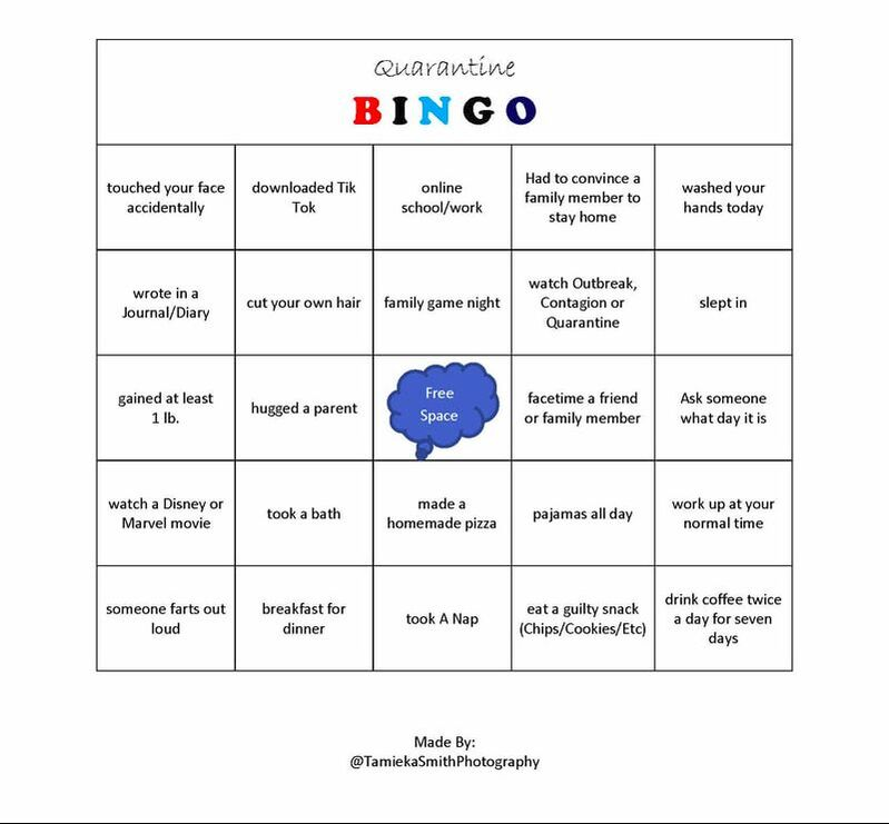 family quarantine bingo by Tamieka Smith Photography