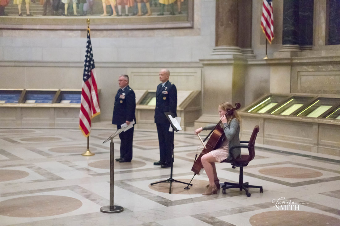 Playing the Cello in the National Archives Museum
