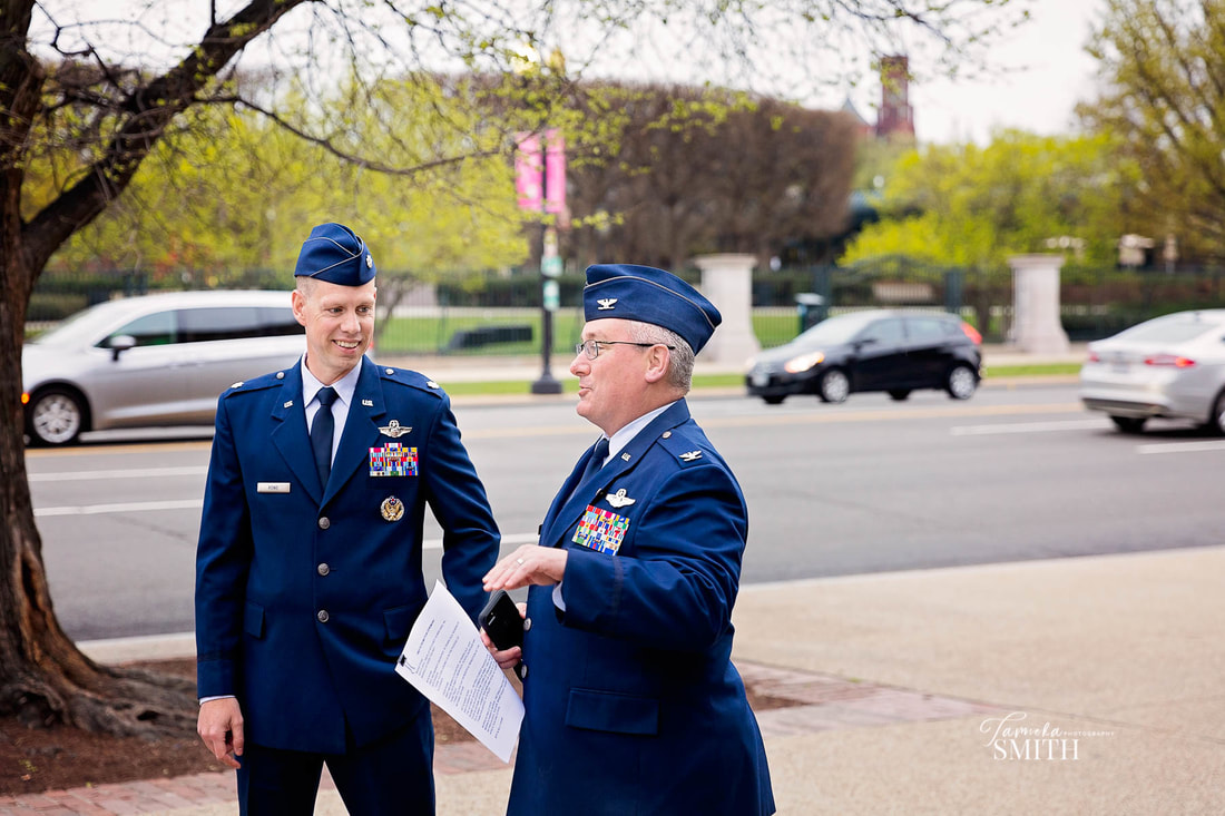 Air Force Officers outside the National Archives Museum in Washington DC