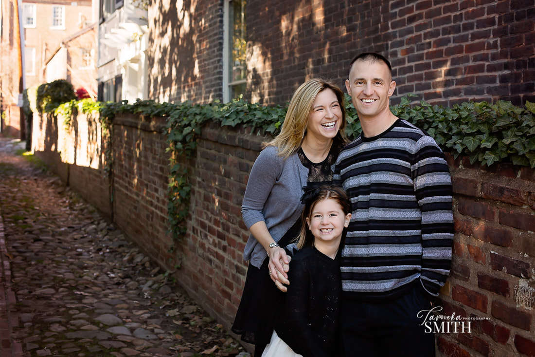 Family Portrait of Three in Old Town Alexandria Virginia