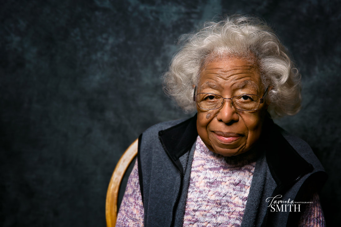 Elderly woman posing for a portrait