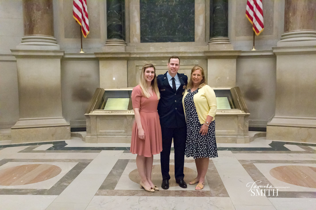 Family picture inside the National Archives Museum in Washington DC - Tamieka Smith Photography