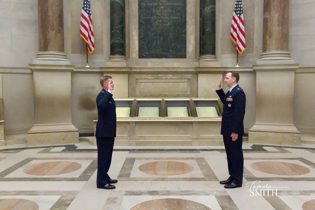 Air Force Officer administered the Oath of Office in front of the United States Constitution - Tamieka Smith Photography