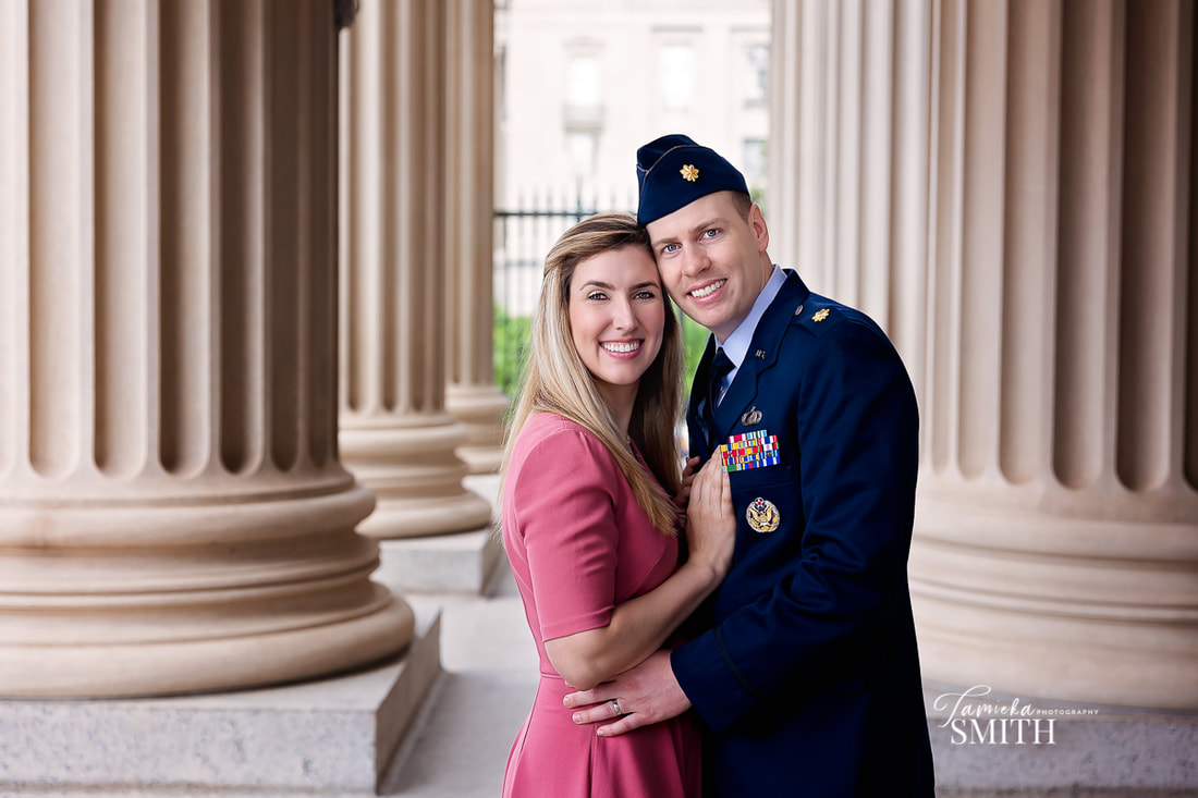 Military couple posing at the National Archives Museum in Washington DC - Tamieka Smith Photography